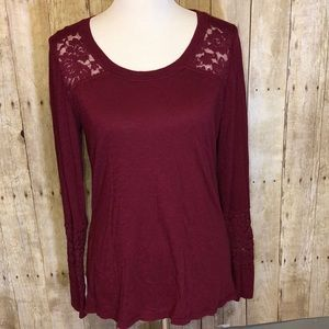 EUC Maurice's Wine Colored w/Lace Top Size L